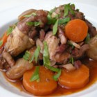 Easy Coq Au Vin - This pared down version of a French classic features herbed chicken in a red wine sauce.