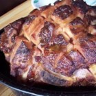 Baked Ham with Maple Glaze - Maple syrup and wine vinegar blend to make a sweet and spicy glaze for baked ham.