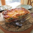 Lasagna - This vegetarian lasagna is layered with spinach, mushrooms, and zucchini, along with ricotta, Parmesan, and mozzarella cheeses and a homemade tomato sauce.