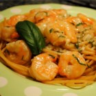 Quick Shrimp Scampi Pasta - A shrimp lover's delight!  Piles of shrimp in a white wine and basil sauce.
