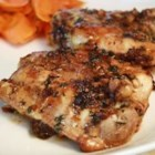 Easy Garlic Broiled Chicken - Broiled chicken thighs are brushed with a mixture of butter, soy sauce, and garlic.