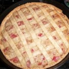 Rhubarb Cream Pie -  This easy-to-follow recipe makes a lovely deep-dish custard pie that 's studded with lots and lots of rhubarb. Simply chop the rhubarb, and mix it with flour, sugar, nutmeg and beaten eggs. Then pour the mixture into a pastry shell and bake until it 's set. Cool and serve with springs of fresh mint.