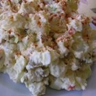 "Texas German Potato Salad - ""This is a deliciously rich German potato salad, easy and perfect for summer BBQs. It is definitely full-flavored with bacon, green onions, sour cream, olives and other yummy ingredients...Always a hit with all our family and friends!"""