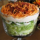 Twenty-Four Hour Salad - A layered green salad with green peas, celery, bell peppers, Cheddar cheese, and bacon sprinkled over all. For other variations, I have substituted or added some of my own favorite ingredients, such as: carrots, eggs, mushrooms, sprouts, and seeded cucumbers.