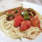 Pasta Primavera Sauce - Tomatoes, broccoli, zucchini, bell pepper, onion, and herbs make up this easy fresh-tasting sauce.