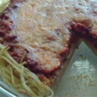 Spaghetti Pie III - Really easy and filling recipe.  Serve with a tossed salad and garlic bread.  Better than lasagna.