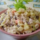Filipino Chicken Salad - This chicken salad uses raisins, carrot, celery, pineapple, and apple to make a tasty dish for any event.