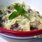 Mushroom Mint Pasta Salad - Delicious mushroom pasta with its flavour delicately enhanced and lightened with mint. Eaten as a cold salad with BBQ or as a warm side dish for French or Italian mains. Crack some pepper on top and decorate with unused mint leaves before serving warm.