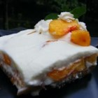 Fresh Peach Dessert - In this cool, creamy no-bake dessert layers of a whipped marshmallow cream and sweet, ripe peaches sit atop a buttery graham cracker crust.