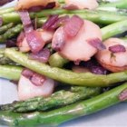 Asparagus and Water Chestnuts - Fast mix of frozen asparagus tips with water chestnuts and sweet red onions, sauteed in a light mixture of olive oil and balsamic vinegar.  Simple, yet beautiful and so delicious!