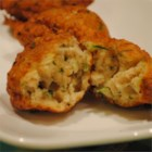 Zucchini and Razor Clam Fritters - Tender, golden brown fritters are bursting with zucchini and razor clams.