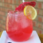 Hot Pink Lemonade - Refreshing, fun recipe for blueberry lemonade! Tart and sweet  from the blueberries. The finished drink is hot pink, almost purple. Garnish with a slice of lemon.