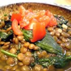 Lentils And Spinach - This is my own adaptation of an Indian recipe.   It doesn't look like much, but it is surprisingly yummy. Serve this for dinner over hot rice or a diced baked potato.  Pair with carrots, cauliflower, or a fresh sliced tomato for a full meal.
