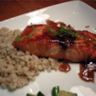 Salmon with Brown Sugar and Bourbon Glaze - Salmon is cooked in a glaze of butter, brown sugar and bourbon.