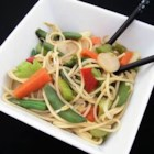 Vegetable Lo Mein Delight - This Asian style pasta dish is packed with vegetables and topped with crunchy noodles!