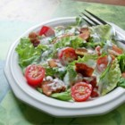 BLT Salad - Crumbly bacon, chopped tomato, shredded lettuce and a  creamy dressing with a hint of garlic - this chopped salad has BLT down pat.