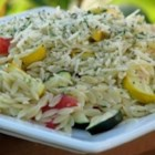 Roasted Vegetable Orzo - Wonderful summer vegetables - zucchini, summer squash, asparagus, and mushrooms - are roasted and mixed with warm orzo and Parmesan cheese.