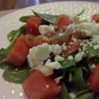 Arugula and Watermelon Salad - An interesting mix of arugula, watermelon, and feta cheese creates one great summer salad!