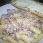 Holy Smoked Bacon and Mushroom Penne - When I was in university, I created this flavorful penne pasta recipe using my favorite ingredients: smoked bacon, button mushrooms and garlic. It became a hit with my family, friends and even special guests at home. It's a wonderful recipe because it's easy, convenient and yummy to boot! Serve while hot with buttered crusty bread. Enjoy!