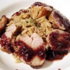 Pork Tenderloin with Balsamic Plum Reduction - A seared pork tenderloin is roasted, then served with a fresh balsamic vinegar and plum sauce. It's fast but fancy enough for company.