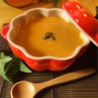 Pumpkin Soup - Roasted pumpkin is spiced with nutmeg in this pureed cream soup.
