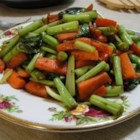 Bok Choy, Carrots and Green Beans - We love stir fry. It 's so orderly. First come the shallots, then the carrots and then the beans. Then the bok choy, the veggie broth and the soy sauce. That 's it. Delicious.