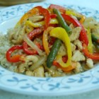 Chicken and Peppers with Balsamic Vinegar - Colorful peppers are stir-fried with chicken. Balsamic vinegar and basil bring plenty of flavor to this exciting dish.