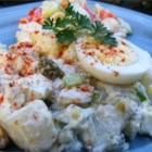 My Mom's Good Old Potato Salad - A simple, old-fashioned potato salad has only 5 ingredients, featuring hard boiled eggs and sweet pickles.