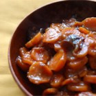 Orange Juice Tzimmes - Stewed carrots and prunes, sweetened with sugar and orange juice