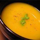 Pumpkin Soup - This easy soup is made with pumpkin puree, chicken stock, onion, and fresh herbs. Cream is stirred in at the end for added richness.