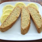 Lemon Poppy Seed Biscotti - Extremely low fat and tasty biscotti cookies. Perfect for dipping in hot coffee or tea.