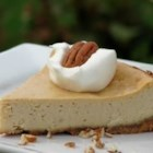 Praline Cheesecake - Creamy, rich, nutty, butterscotch flavor. To serve, put a dollop of sweetened whipped cream on each slice.  Add at least 1 pecan, or better yet, add a few.