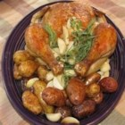 Chicken with 40 Cloves of Garlic - This is a roasted chicken recipe for those who love garlic.