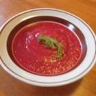 Vegan Borscht - Silken tofu is blended with the beets to add a smooth and creamy texture to this vegan soup.