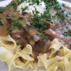 Portobello Mushroom Stroganoff - This is a rich and meaty vegetarian stroganoff made with portobello mushrooms, and served over egg noodles. It is quick to make, and tastes delicious.