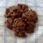 Microwave Pralines - Brown sugar, cream, salt, margarine and pecans are microwaved then flavored with vanilla and dropped onto waxed paper to cool into bite sized pralines.