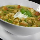 Tomatillo Soup - This is a Mexican-style chicken soup with tomatillos and chicken breast meat cooked in a stock seasoned with fresh jalapenos, garlic and cayenne pepper.  Serve with a dollop of sour cream and sprig of cilantro.