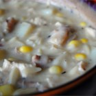 Chicken Corn Chowder - Homemade chicken broth is combined with onion, shallots, potatoes, corn and cream in this simple, hearty chowder.