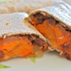 Addictive Sweet Potato Burritos - These unusual burritos are made with sweet potatoes, spices and kidney beans. They freeze well and can be deep-fried instead of baked.