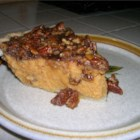 Sweet Potato Pie IV -  Sweetened condensed milk gives this pie 's sweet potato filling a sweet creaminess, and grated orange rind adds a pleasant texture and citrus bite to the finished pie. This pie is also drizzled with a wonderful syrup of brown sugar, pecans and maple flavoring, and then it 's baked until glazed and wonderful.
