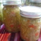 Green Tomato Relish - This delicious, tangy relish of green tomatoes, onions, bell peppers, and spices,  is perfect with sandwiches, potatoes, cheese, and lots of other entrees.