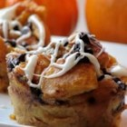 Pumpkin Bread Puddin' - This bread pudding is made in individual custard cups and topped with chocolate chips. Serve warm with a dollop of whipped cream.