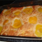 Peach Cobbler IV - Butter is melted in an 8x8-inch glass baking dish, then a simple biscuit batter spooned in followed by peaches arranged on top. The oven takes care of the rest. An hour later, this delicious cobbler emerges bubbly and golden.