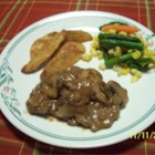 Venison with Sherry-Mushroom Sauce - Seasoned venison tenderloin steaks are seared then cooked in a sherry-mushroom-sweet onion sauce.