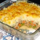 Shepherd's Turkey Pie - A shepherd's pie made with ground turkey has an extra helping of vegetables because the mashed potato topping is mixed with flavorful cauliflower.