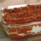 Linda's Lasagna - Lasagna with cottage cheese and homemade beefy tomato sauce.