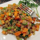 Mediterranean Lentil Salad - Lentils have a mild lovely taste and they take on a nice flavor and texture in this dish when  cooked up with carrots, onions, and garlic. Just before serving, they 're tossed with olive oil and lemon juice and spooned onto plates.