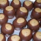 Buckeye Cookies II - Peanut butter balls dipped in chocolate.