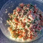 Tabbouleh - Bulgur just needs some soaking in hot water to plump and be ready for all the diced and minced, mint, tomato, scallions, parsley and olive oil and lemon juice that are stirred in. Chill to mingle flavors.