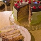 Cassata Cake - Cassata cake is like a cannoli but more gooey. You need 2 - 9 inch sponge cake layers for this recipe. The instructions are given for to make them, or you can use your own recipe.